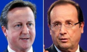 Britain Prime Minister David Cameron and France President Francois Hollande