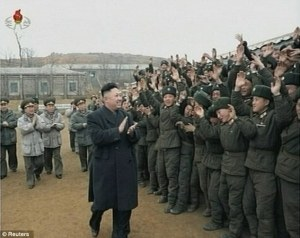 North Korean leader Kim Jong-un visiting troops