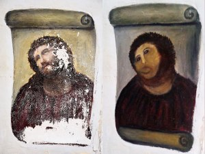 Original painting (L), restoration attempt (R)