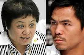 BIR Commissioner Kim Henares (l) and boxing champ Manny Pacquiao.