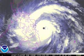 Super Typhoon Yolanda (intrnational name Haiyan) heading towards Eastern Visayas in the Philippines.