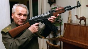 Mikhail Kalashnikov, a former Soviet Army sergeant with his AK-47 invention