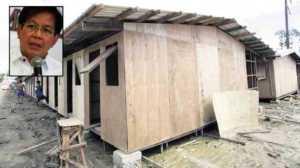 Rehabilitation czar Panfilo Lacson (inset); Bunkhouses