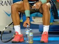 Rafa lining up water bottles