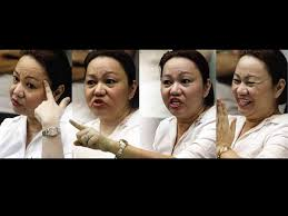 Janet Lim-Napoles making different gestures.