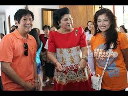 Imelda Marcos with son, Bongbong, and daughter, Imee.