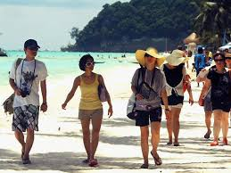 South Koreans in Boracay, the Philippines' most famous beach.