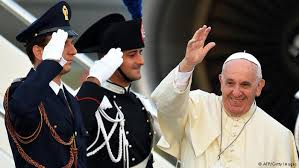 Pope Francis arriving in Albania.