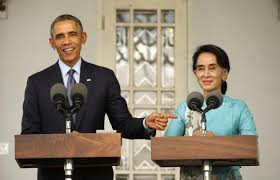 President Barack Obama and Myanmar's opposition leader Aung San Suu Kyi.