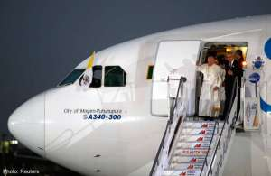 Pope Francis upon his arrival in Manila.