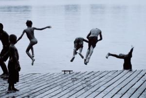 Boys Diving off Pier
