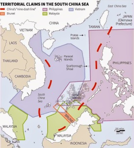 China's nine-dash line claim in the South China Sea.
