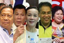 Binay, Duterte, Poe, Roxas, Santiago