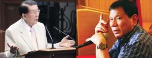 "Sen. Juan POnce Enrile and presidential candidate Rodrigo ""Digong"" Duterte"