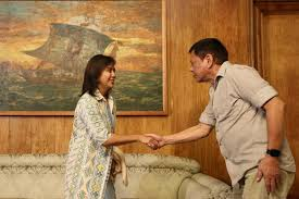 Pres. Duterte shaking hands with Vice Pres. Robredo during latter's courtesy call.