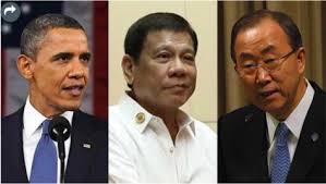 US President Obama, President Duterte, UN Secretary Ban Ki-moon