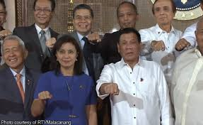 Vice President Leni Robredo with President Rodrigo Duterte and some Cabinet members.
