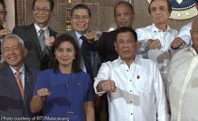 Vice President Leni Robredo with President Rodrigo Duterte and some Cabinet members.