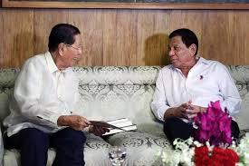 Former Sen. Juan Ponce Enrile visiting Pres. Rodrigo Duterte in Malacañang.
